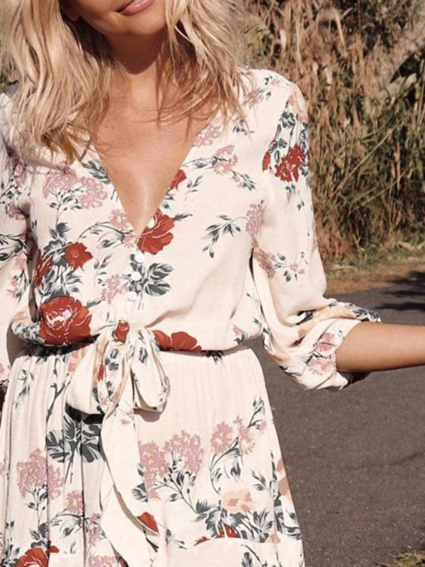 Mostata White Boho 3/4 Sleeve V Neck Floral Women Dresses