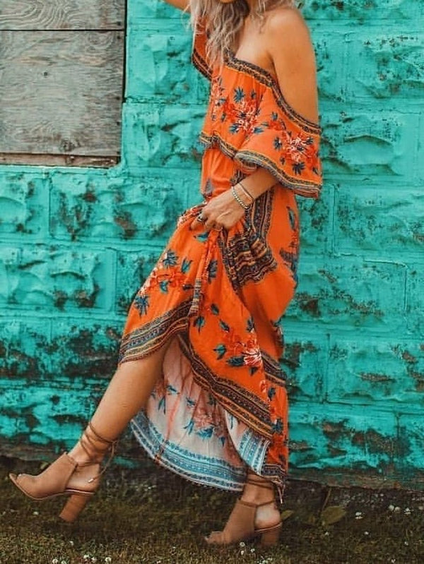 Mostata Orange Long Sleeve Shift Boho Dresses