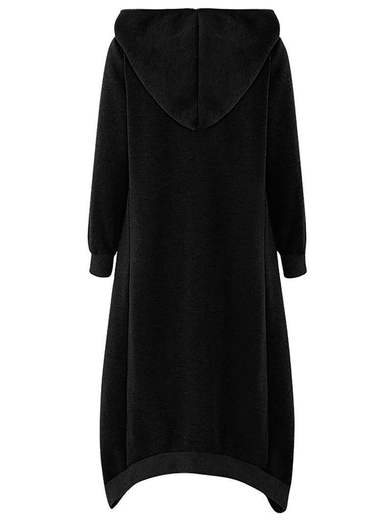 Hooded Long Sleeve Zip Irregular Long Coat