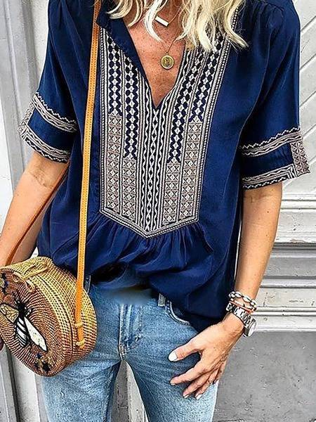 Short Sleeve Tribal Casual Printed Blouses