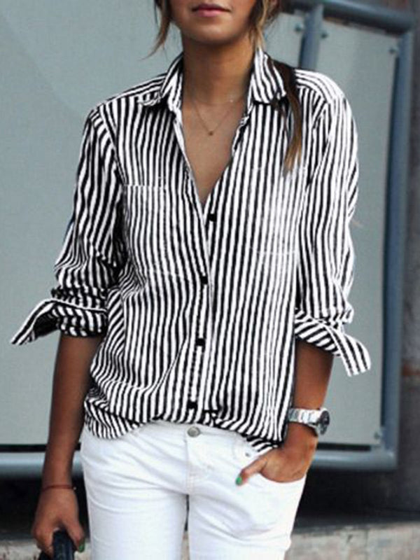 Shirt Collar Buttoned Long Sleeve Stripes Shirt