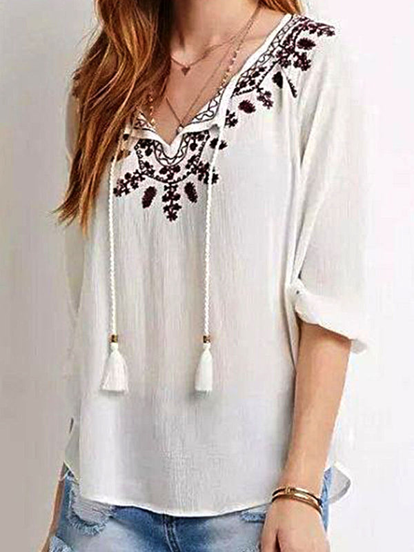 White Crew Neck Long Sleeve Floral Embroidered Shirts & Tops