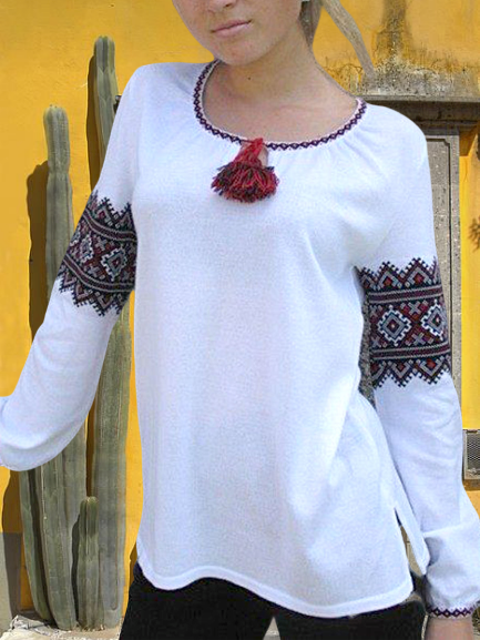 White Long Sleeve Tribal Crew Neck Shirts & Tops