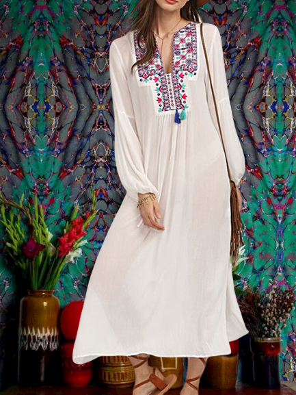 White Cotton Long Sleeve Tribal A-Line Dresses
