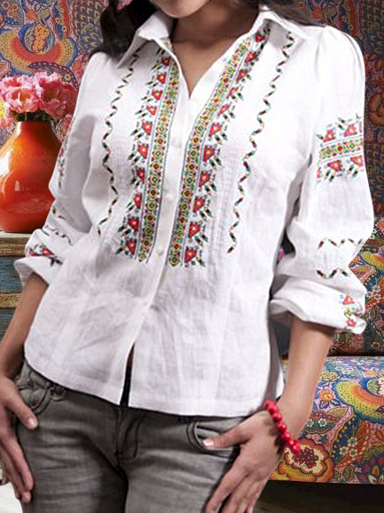 White Embroidered Vintage Shirt Collar Shirts & Tops