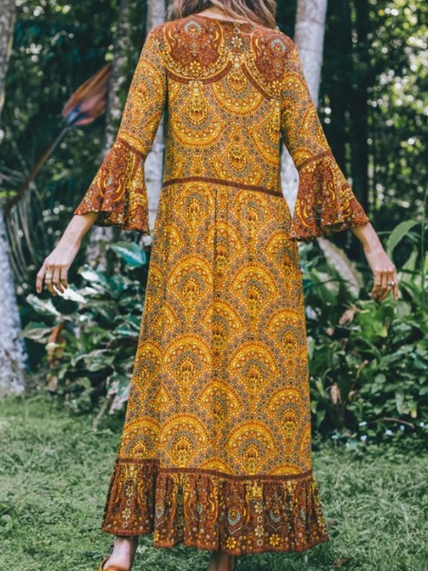Mostata Yellow Boho V Neck Long Sleeve Floral Maxi Dresses For Women