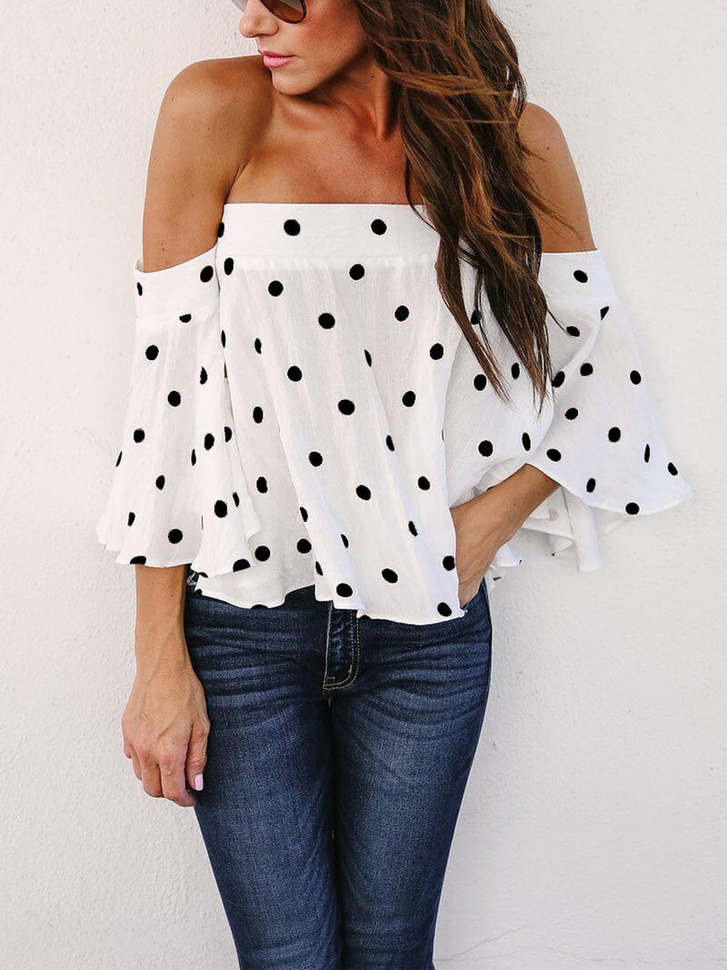 Off shoulder Polka dots  Short Sleeve Frill Blouse