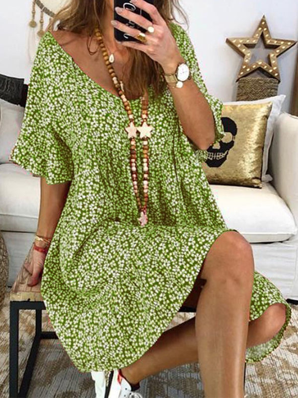 Mostata Women Floral Printed V neck Short Sleeve  Boho Vintage Dresses