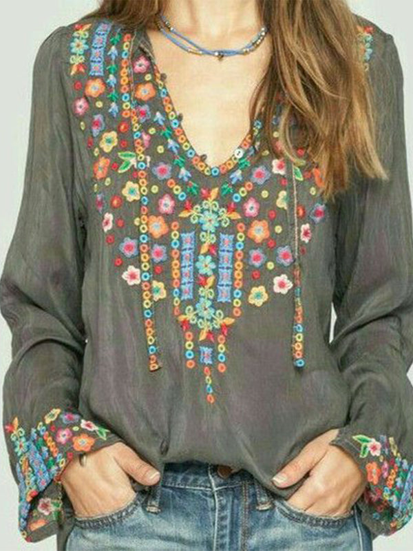 Women's Plus Size Embroidery T-Shirts Long Sleeve Floral Cotton Blouses