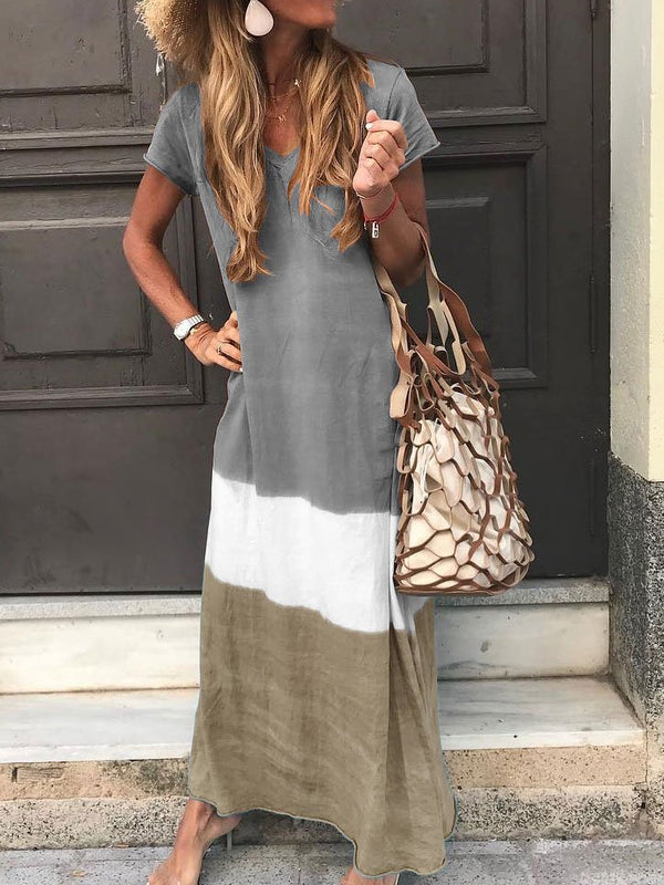 Mostata V Neck Cotton Short Sleeve Striped Maxi Dresses