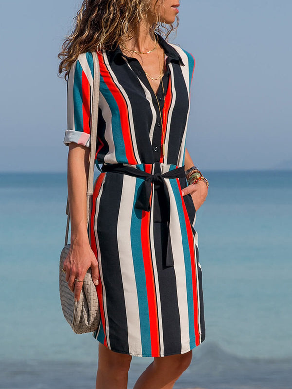 86b5bb72d56 ... Casual Stripes Shirt Collar Long Sleeve Midi Dress