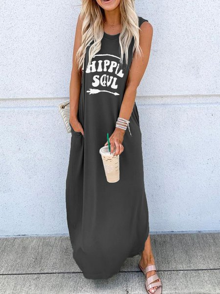 Sleeveless Letter Casual Dresses