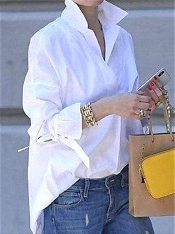 Mostata White Daily Casual Basic Long Sleeve Blouse Top