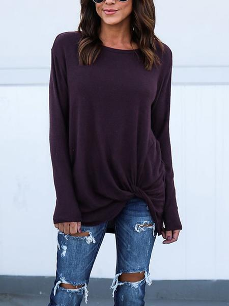 Women Casual Irregular Solid Color Pullover