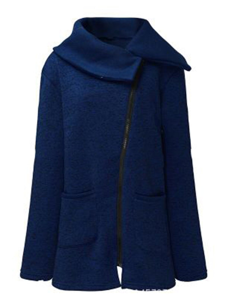 Coat - Zipper Long Sleeve Shawl Collar Solid Women Coat