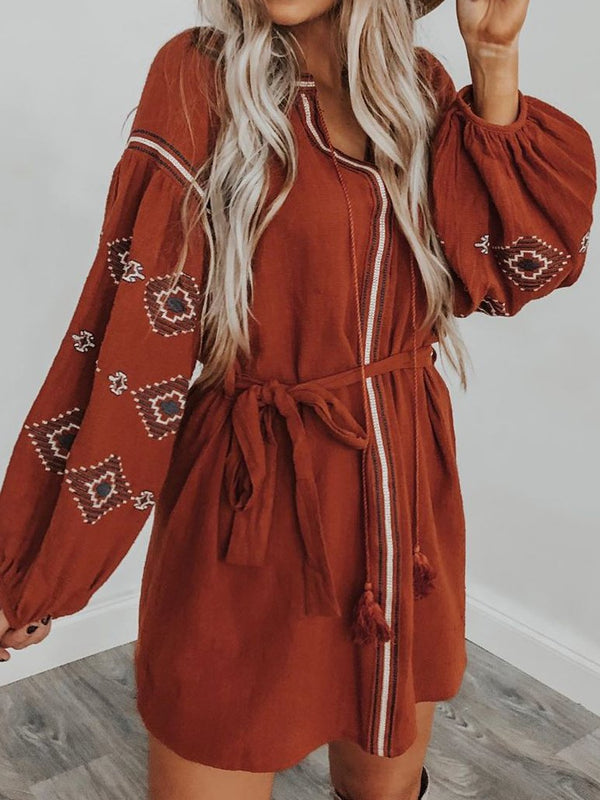 Mostata Brick Red Long Sleeve V Neck Boho Dresses For Women