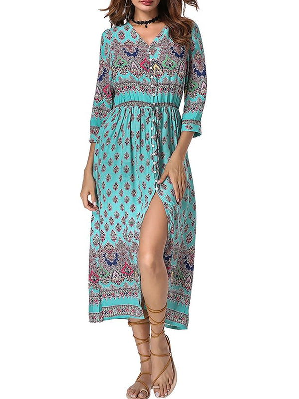 Mostata Women V neck  A-line  Daytime Boho Half Sleeve Paneled Floral Dress