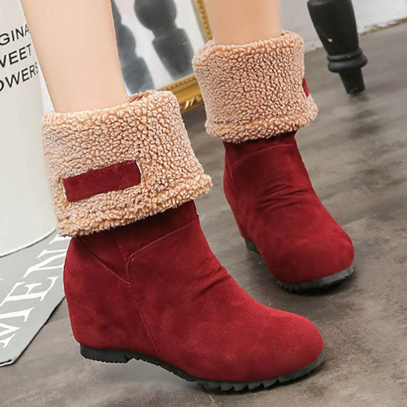 Casual Wedges Mid-Calf Women Christmas Boots