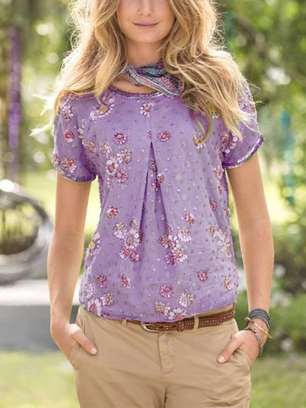 Floral Casual Round Neck Shirts & Tops