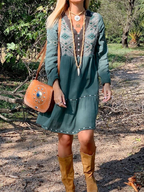 Mostata Green dress Plus Size Boho Geometric Printed Long Sleeve V Neck Dresses