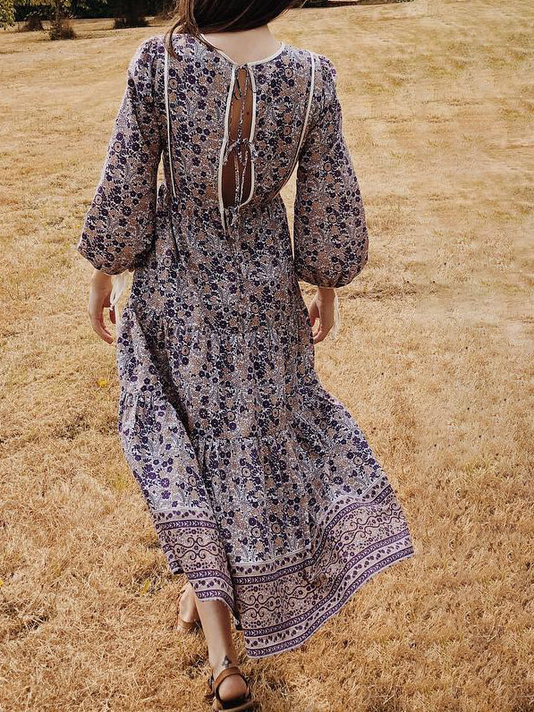 Mostata Boho Light Brown Balloon Sleeve Tribal Shift Crew Neck Women Dresses