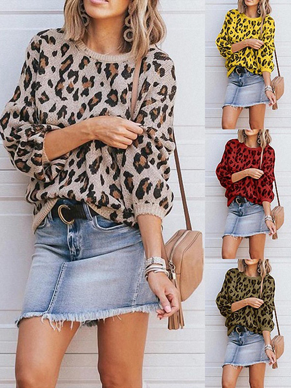Vintage Crew Neck Leopard Print Long Sleeve Sweaters