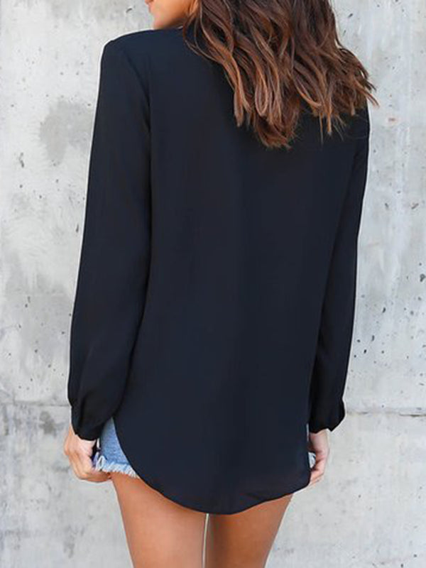 V Neck Long Sleeve Shirts  Blouse