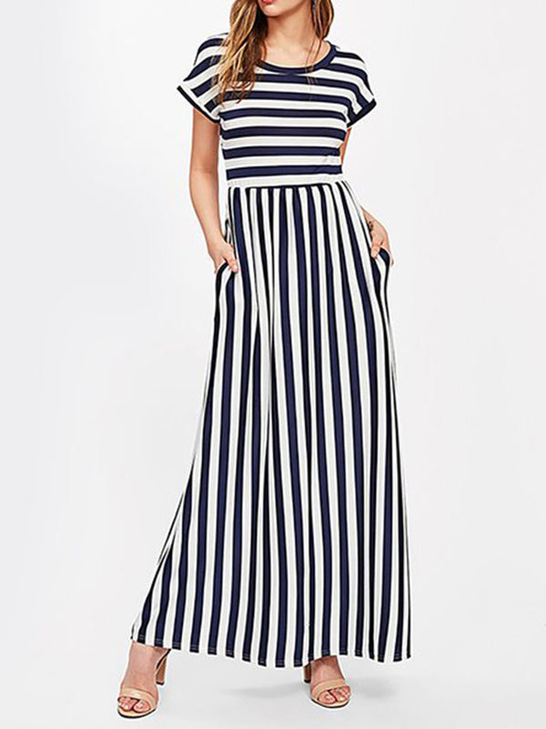 A-line Women Beach Holiday Striped Summer Dress