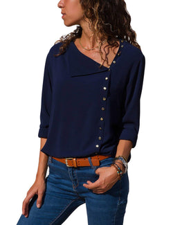 Navy Blue Polyester Shawl Collar Casual Blouses & Shirt