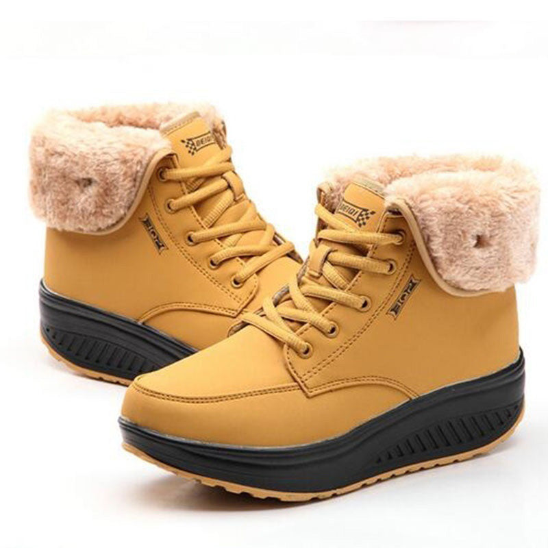 Womens Faux Leather Flat Heel Outdoor Snow Boots