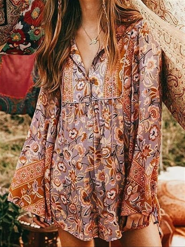 Mosta Bohemia Flora Summer Spring Long Sleeve Top Blouse
