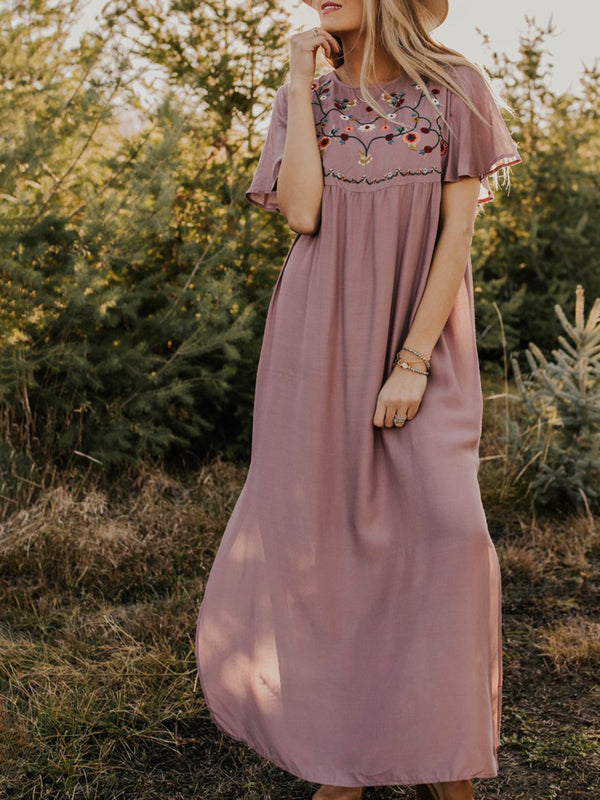 Casual Daily Embroidered Crew Neck Short Sleeve Floral  Maxi Dress