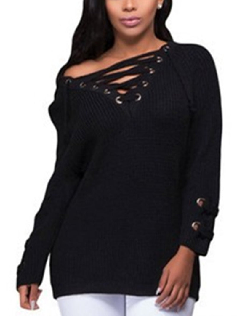 Mid-length V-neck  Long Sleeve Knit Sweater