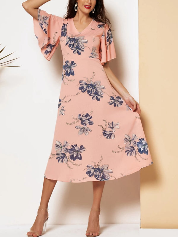 As Picture Crew Neck Short Sleeve Floral Dresses