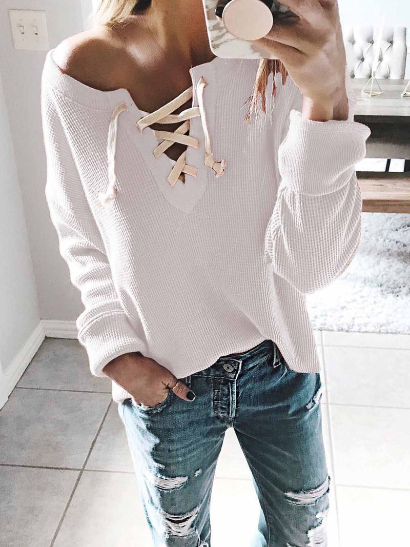 Lace Up V Neck Long Sleeve Sweatershirt