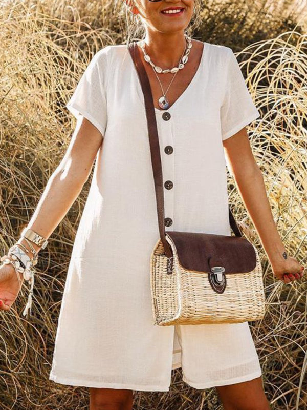 V Neck Boho Solid Dresses