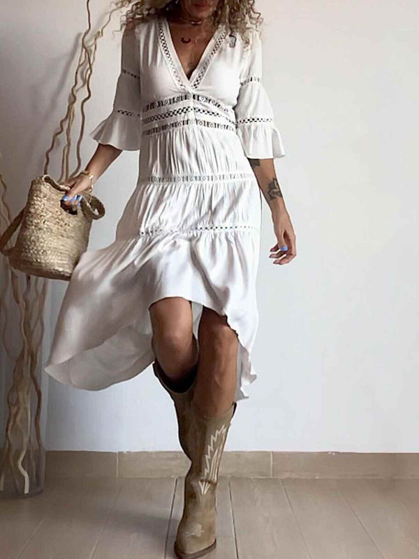 Mostata Boho Holiday White V Neck Long Sleeve Cotton-Blend Women Dresses