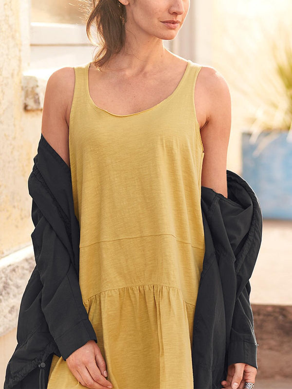 Sleeveless Casual Solid Ruffled Dresses