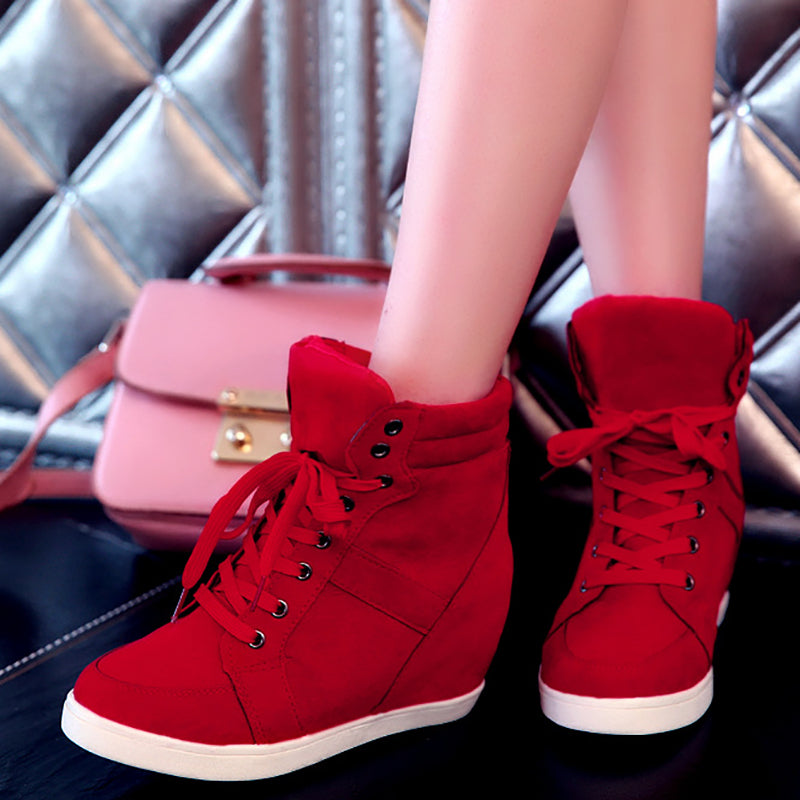 Women Platform Sneakers Booties Casual Lace Up Shoes