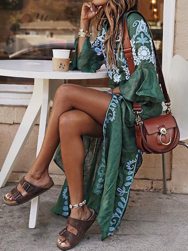 Mostata Bohemian V Neck Women Summer Dresses Daily Vintage Tribal Mexican Dresses