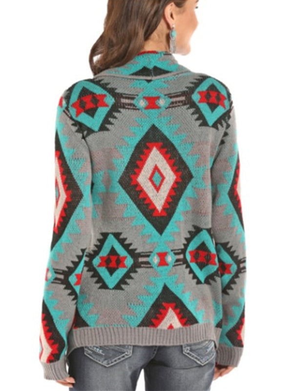 Mostata Tribal Boho Geometric Printed Fall Women's Knitwear