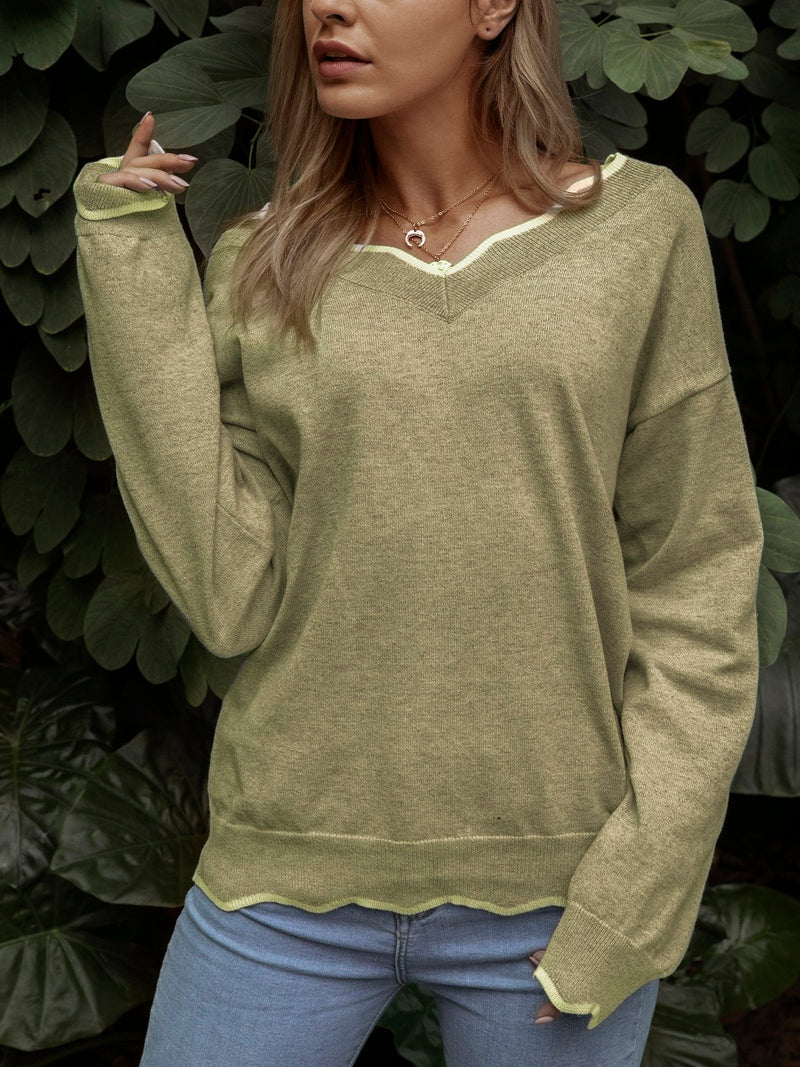 Mostata Plus Size V neck Solid Loose Fall Pullover Sweaters For Women
