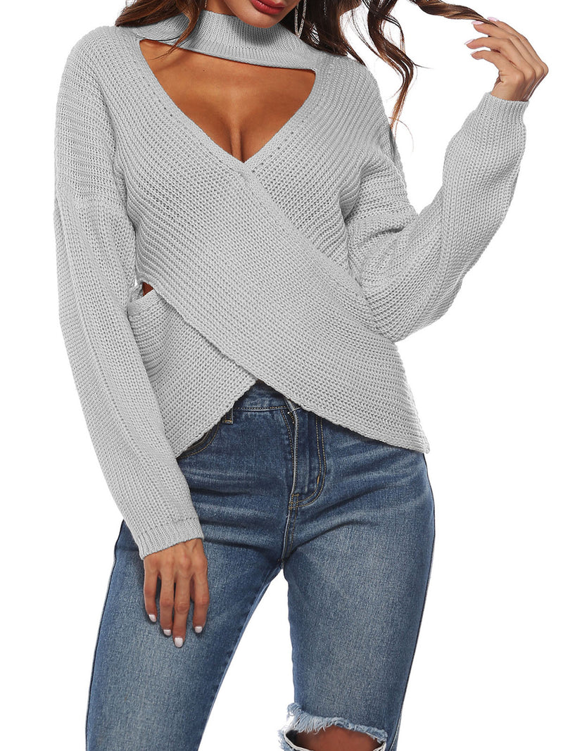 Knitted Polyester Sexy Solid Sweater
