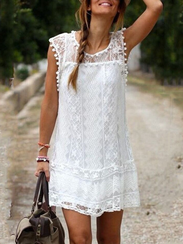 Crew Neck Sleeveless Boho Dresses