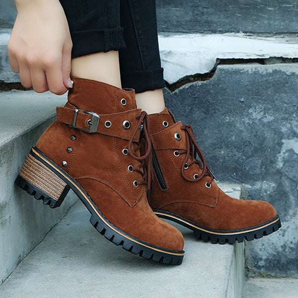 Women Chunky Heel Booties Casual Comfort Zipper Shoes