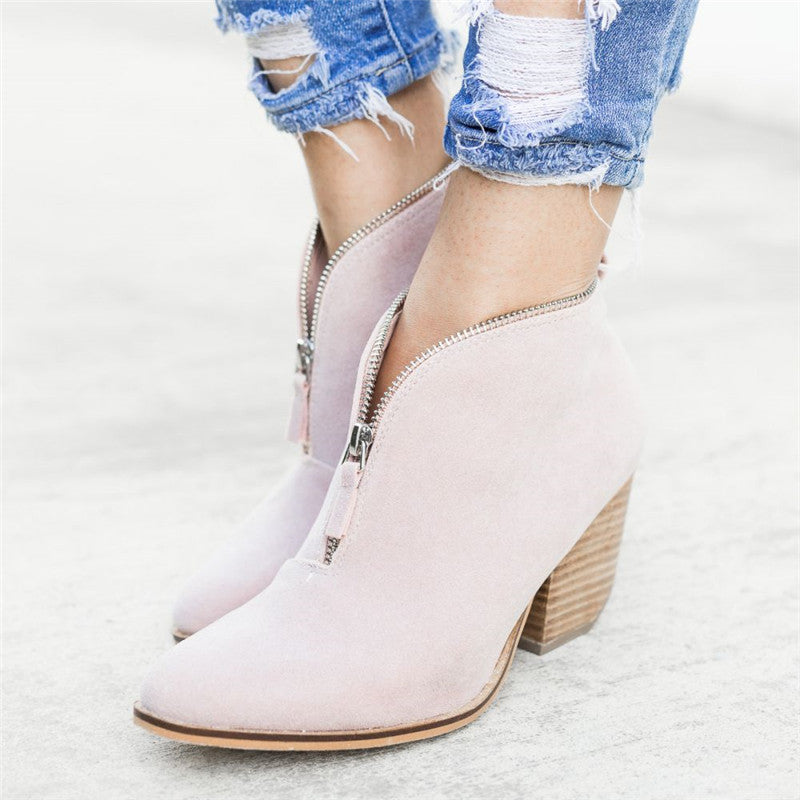Fashion Zip-up V Cut Ankle Booties Low Heel Slip On Boots