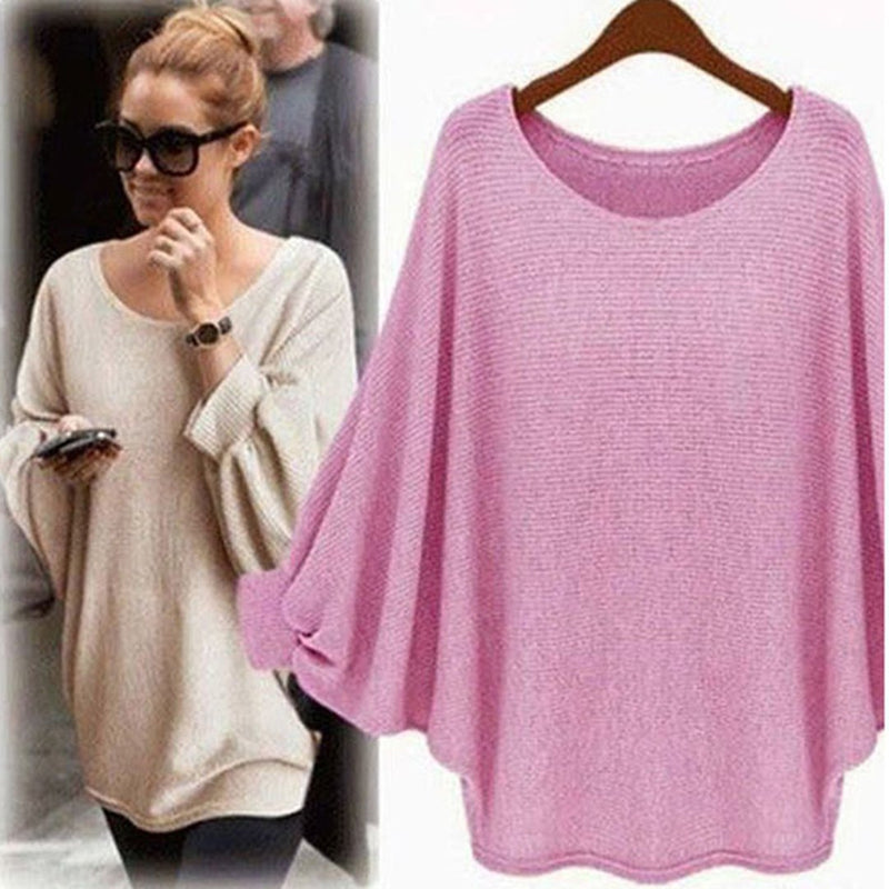 Batwing Casual Crew Neck Knitted Top