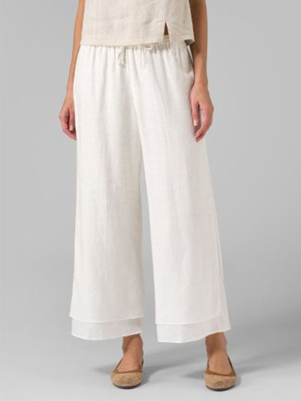 Mostata Casual Large Size Double layer cotton linen pants