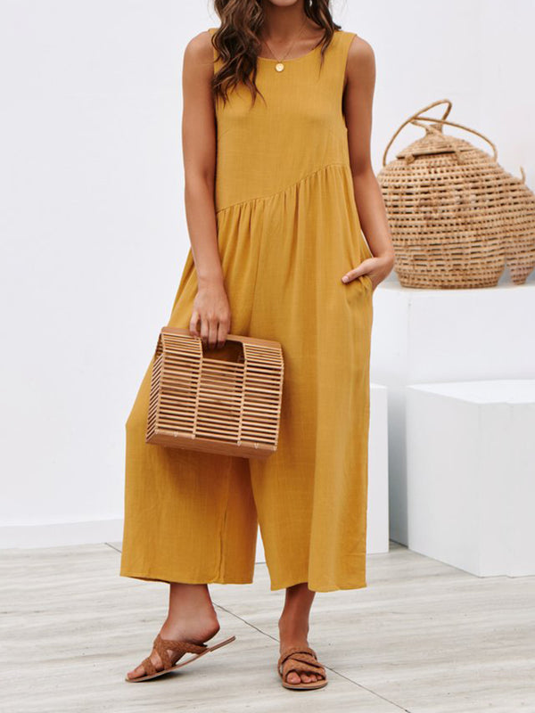 Mostata Crew Neck Sleeveless Solid Boho Linen Jumpsuits