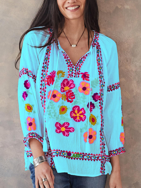 Mostata 3/4 Sleeve Casual Patchwork Mexican Shirts & Tops